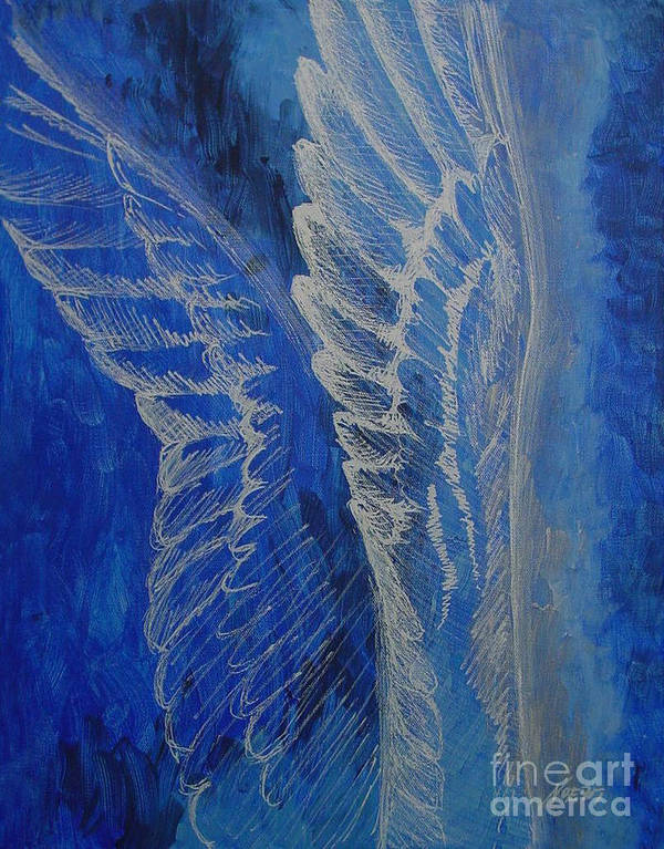 Acrylic Poster featuring the painting Wings Of Angel by Jindra Noewi