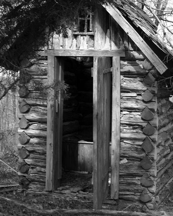 Ansel Adams Poster featuring the photograph Winslow log outhouse by Curtis J Neeley Jr
