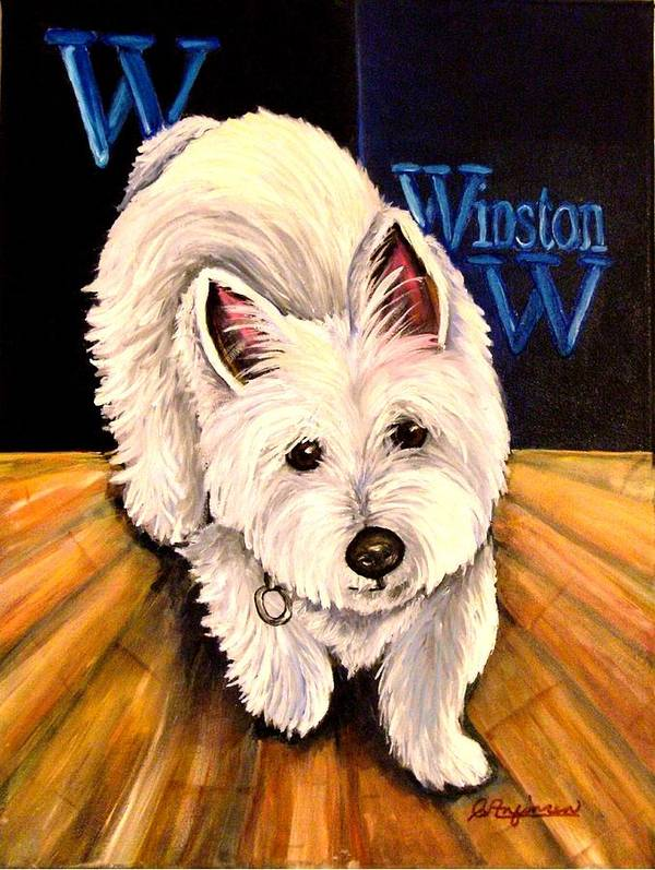 Dog Westie West Highland Terrior Animals Furry Dogs Dog Portraits Poster featuring the painting Winston by Carol Allen Anfinsen