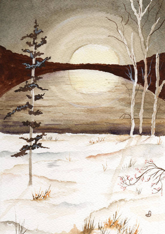 Watercolor Poster featuring the painting Winter Apex by Brenda Owen