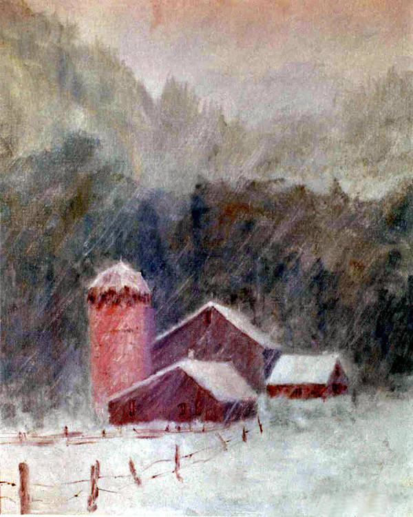 Farm Poster featuring the painting Winter Barns by Marina Petro