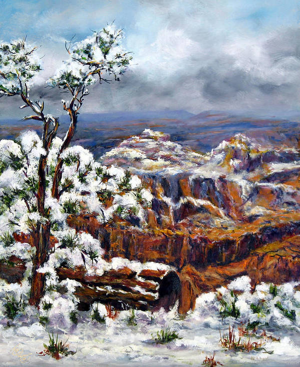 Landscape Poster featuring the painting Winter Canyon by Thomas Restifo