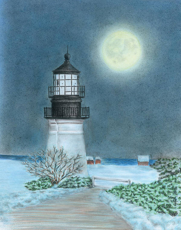 Lighthouse Poster featuring the drawing Winter Coast by Troy Levesque