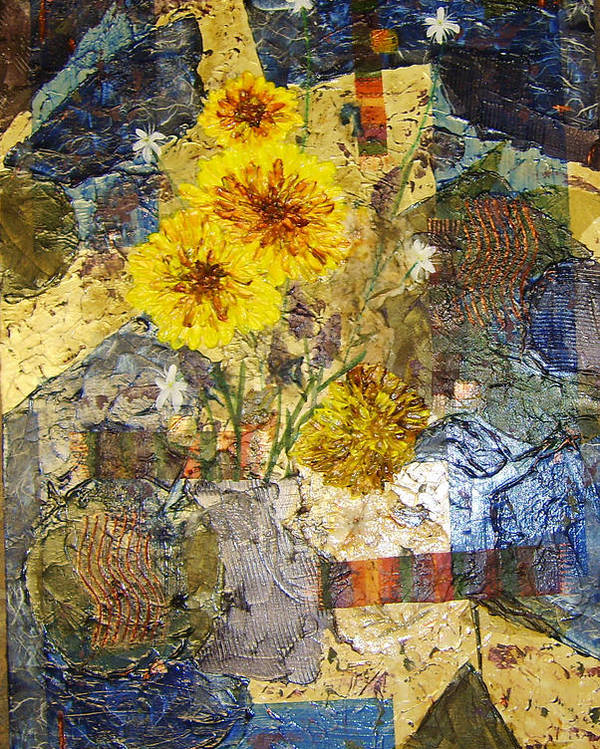 Abstract Poster featuring the painting Winter Flowers by Terry Honstead