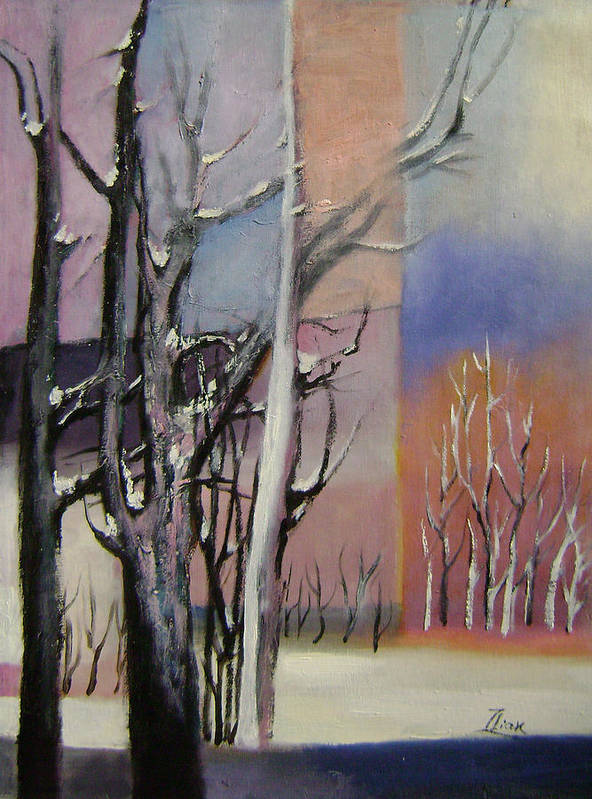Abstract Poster featuring the painting Winter by Lian Zhen
