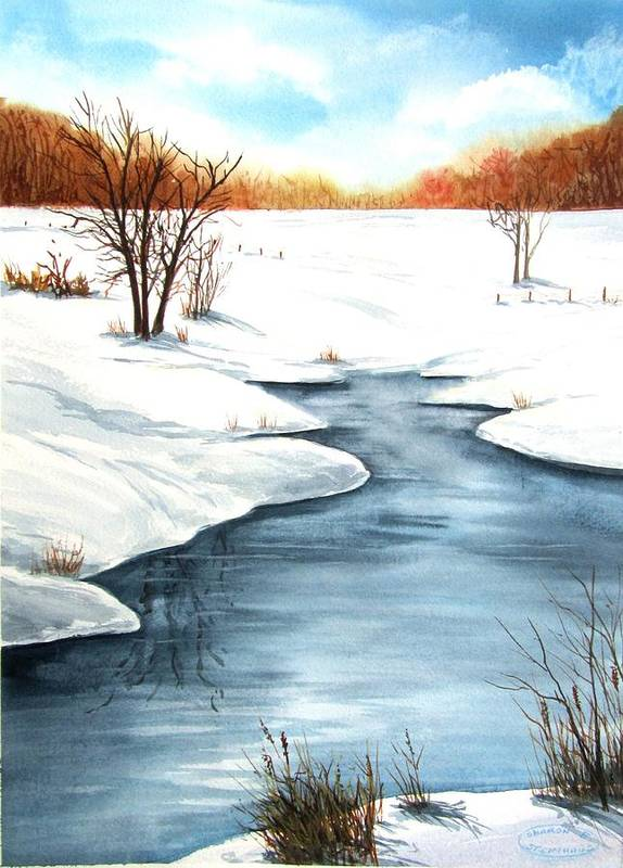 Original Watercolour Poster featuring the painting Winter Memories by Sharon Steinhaus