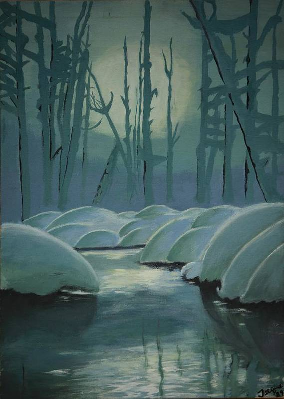 River Poster featuring the painting Winter Quiet by Jacqueline Athmann