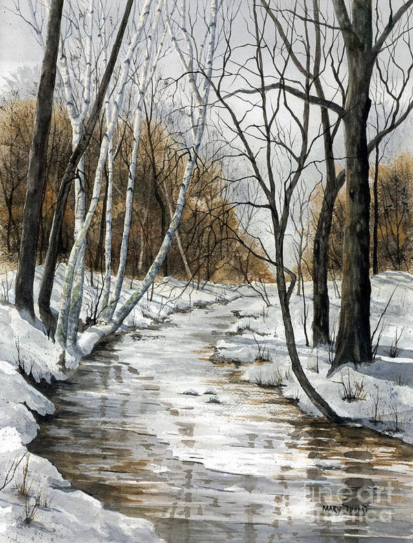 Minnesota Poster featuring the painting Winter River by Mary Tuomi