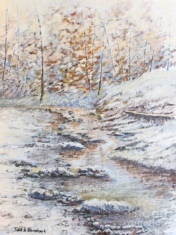 Landscape Poster featuring the painting Winter River by Todd Blanchard