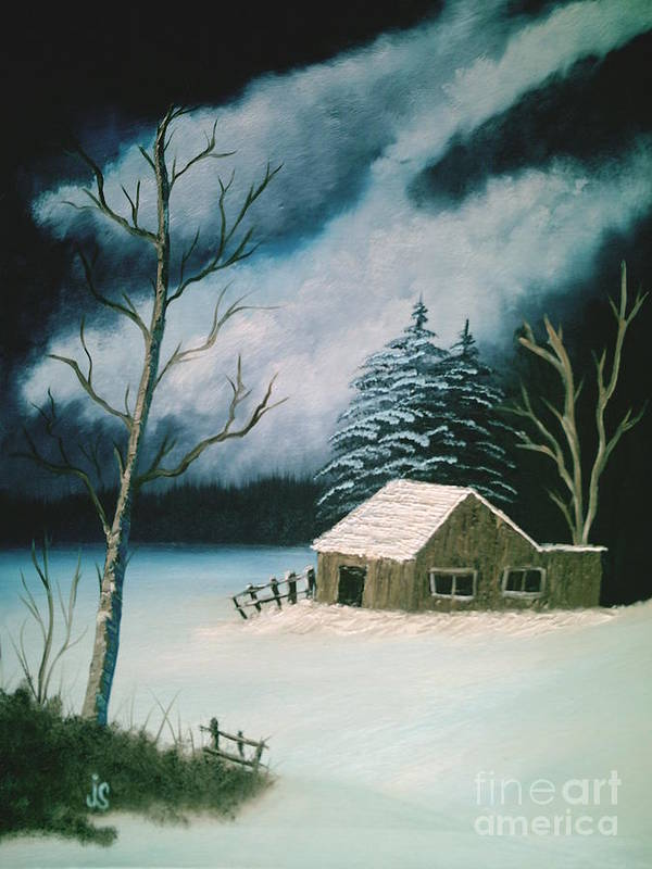Winter Landscape Poster featuring the painting Winter Solitude by Jim Saltis