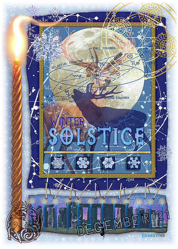 Solstice Poster featuring the digital art Winter Solstice by Ernestine Grindal