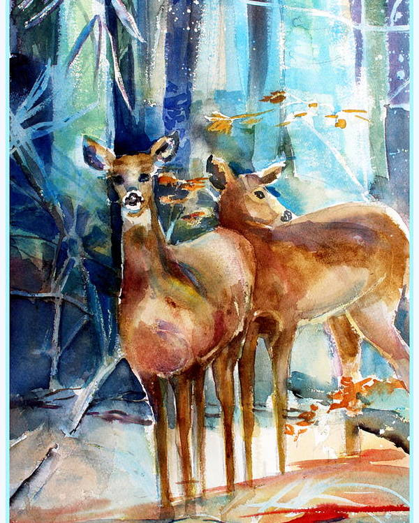 Deer Poster featuring the painting Winter Travelers by Mindy Newman