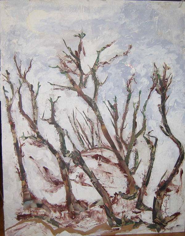 Trees Poster featuring the painting Winter Trees by Helene Champaloux-Saraswati