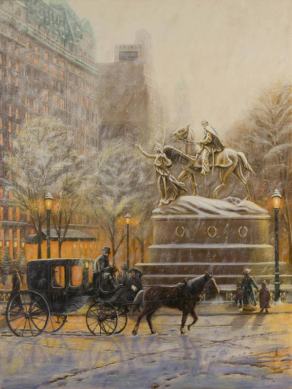 Winter Painting Poster featuring the painting Winter Twilight At Grand Army Plaza by Christopher Oakley