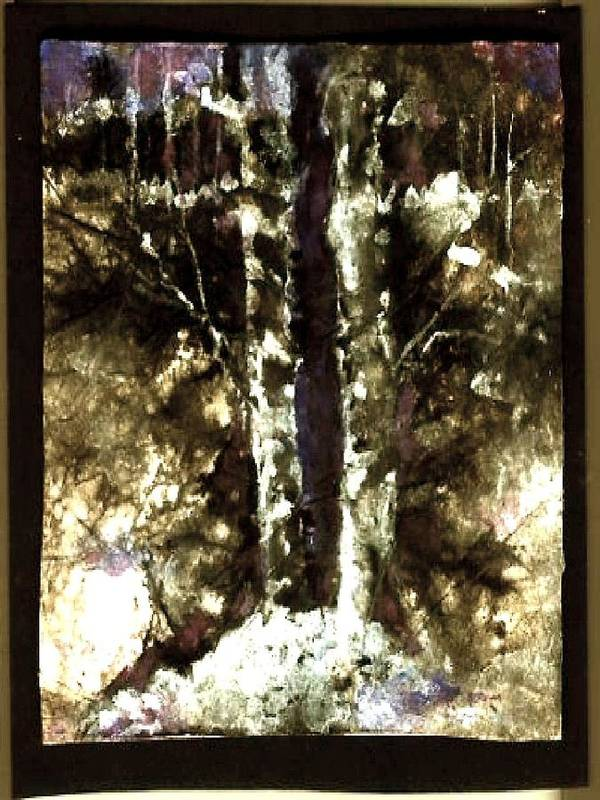 Landscape Poster featuring the painting Winter Woods by Donna Elio