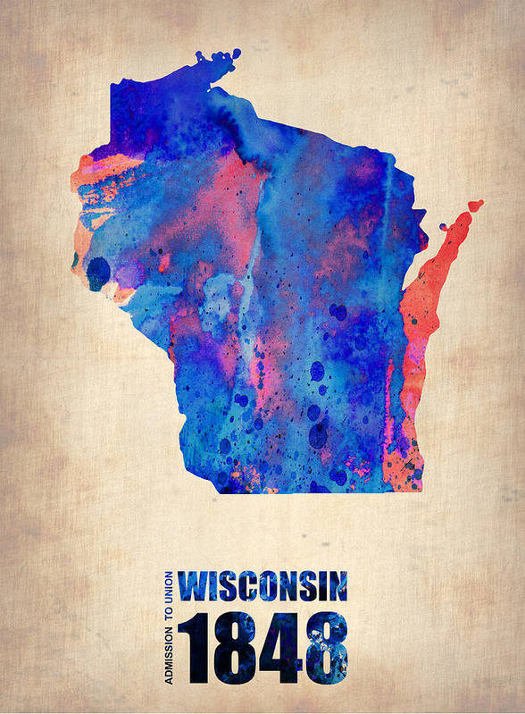 Wisconsin Poster featuring the digital art Wisconsin Watercolor Map by Naxart Studio