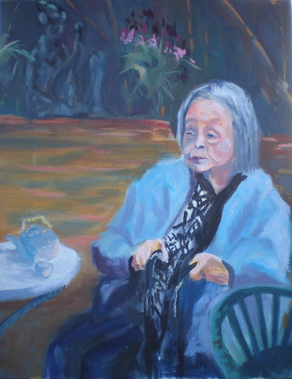 Senior Citizen Poster featuring the painting Wisdon In Carmel by Bryan Alexander