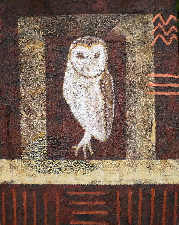 Owl Poster featuring the painting Wise One by Shirley anne Dunne