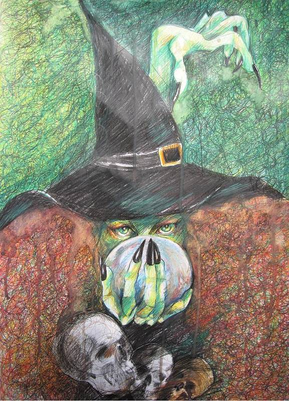 Drawing Poster featuring the drawing Witch In Action by Brigitte Hintner