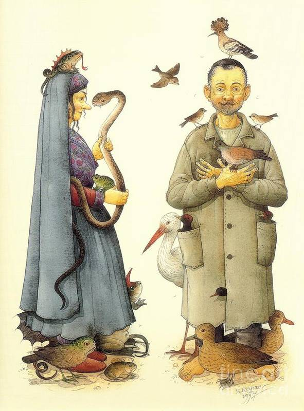 Witch Magic Hex Glamour Poster featuring the painting Witch by Kestutis Kasparavicius