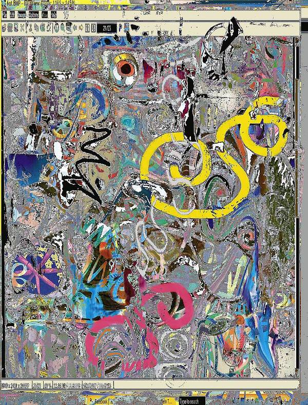 Abstract Red Blue Yellow Purple Poster featuring the digital art wiz by Dave Kwinter