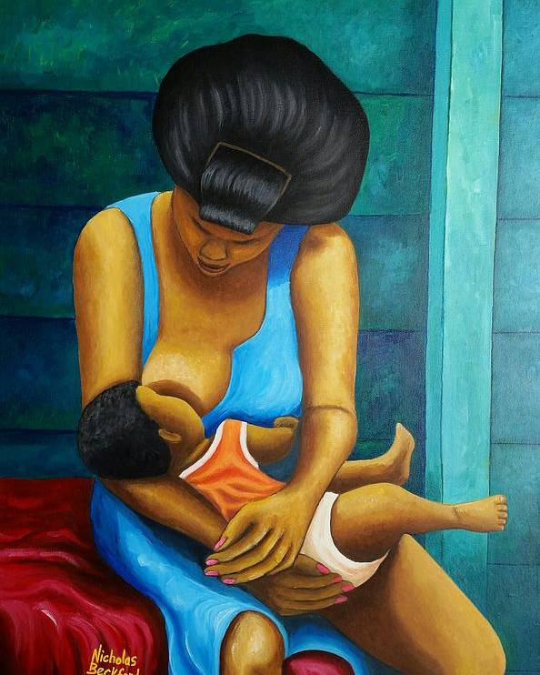 Portrait Poster featuring the painting Woman And Child by Nicholas Beckford