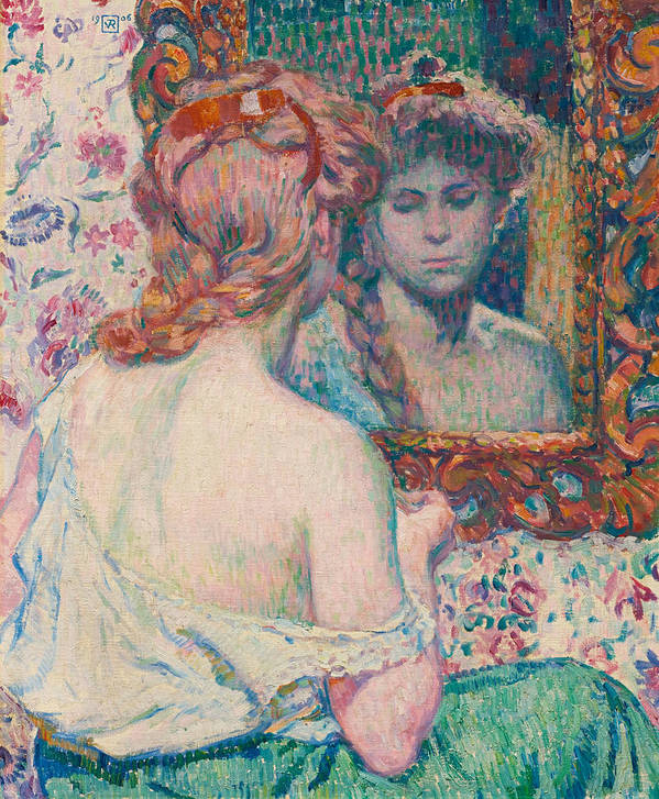 Theo Van Rysselberghe Poster featuring the painting Woman At The Mirror by Theo van Rysselberghe