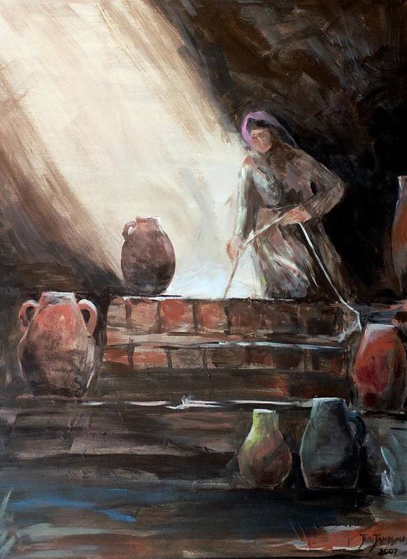 Woman Poster featuring the painting Woman At The Well by Jun Jamosmos