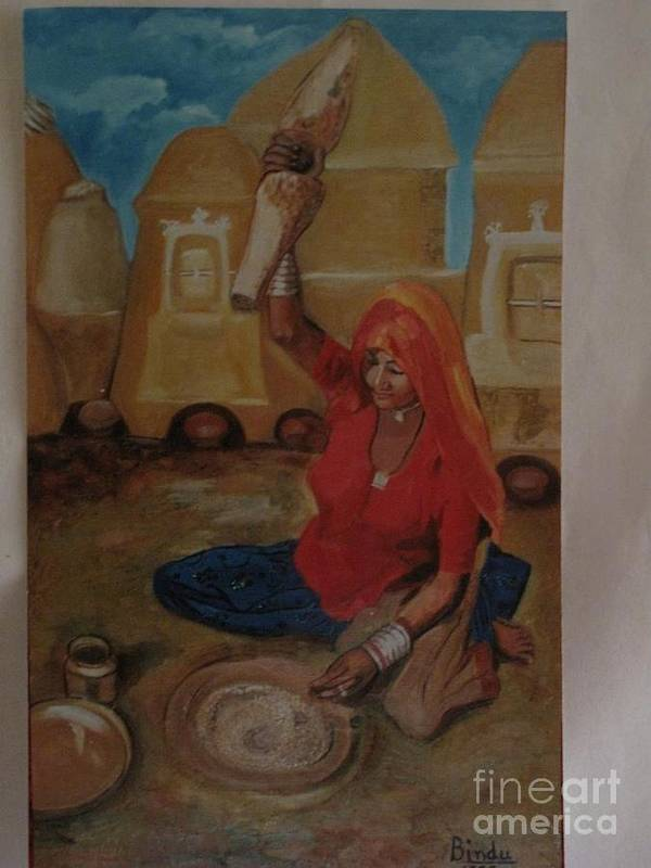Village Poster featuring the painting Woman Grinding by Bindu Bajaj