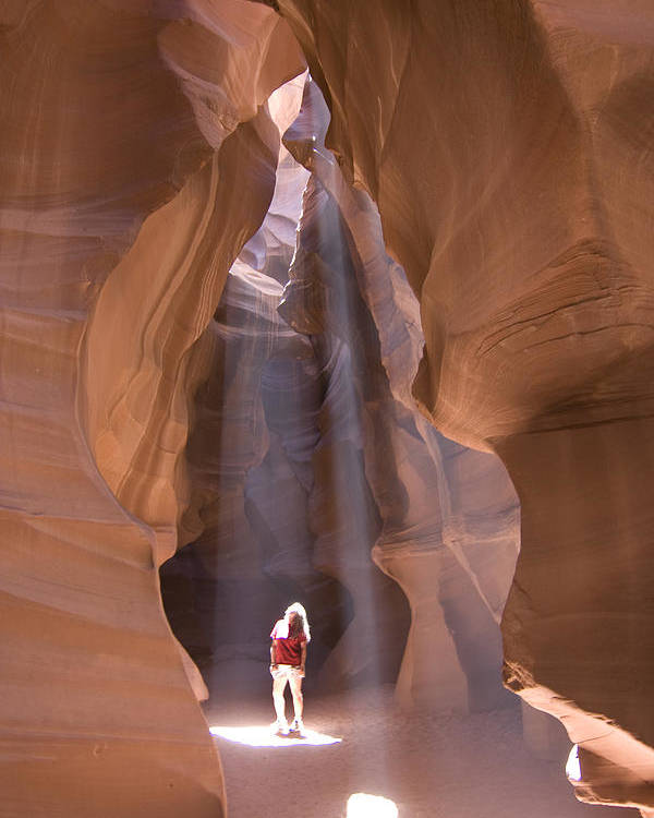 Canyon Poster featuring the photograph Woman In Antelope Canyon by Carl Purcell