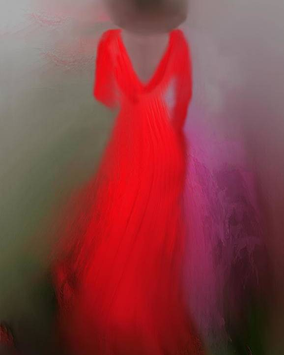 Digital Art Poster featuring the digital art Woman In Red 3 by Clare Iacobelli