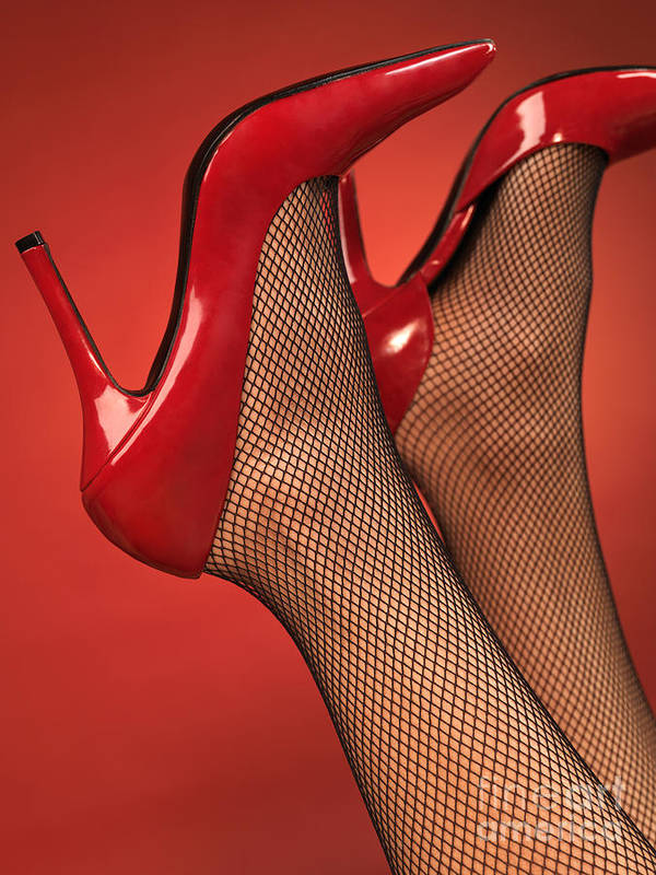 Shoes Poster featuring the photograph Woman In Red High Heel Shoes by Oleksiy Maksymenko