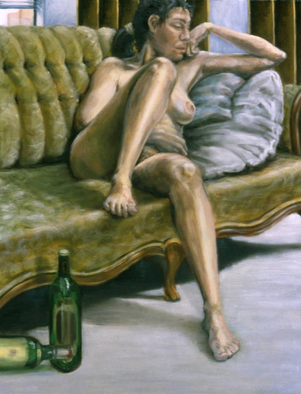 Female Poster featuring the painting Woman On Green Sofa by John Clum