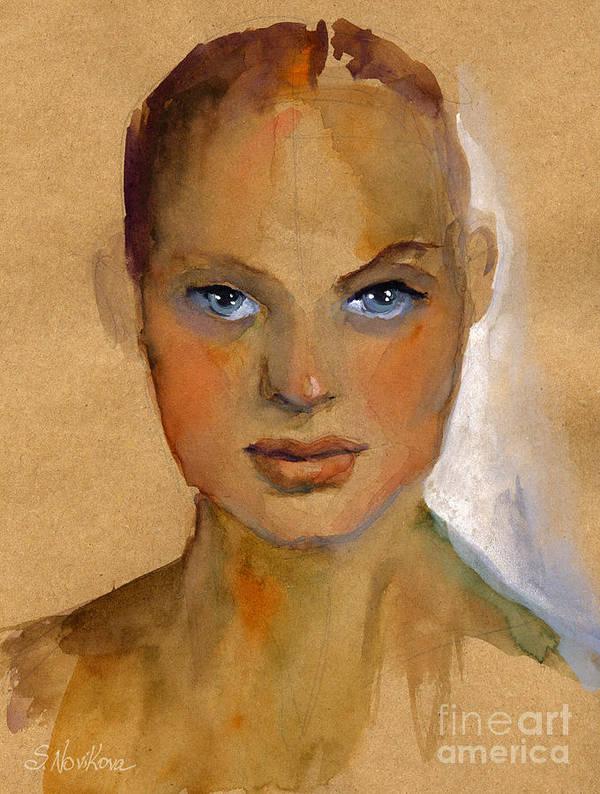 Portrait Poster featuring the painting Woman Portrait Sketch by Svetlana Novikova