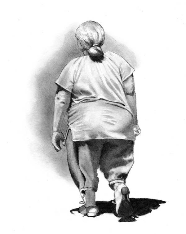 Woman Poster featuring the drawing Woman Strolling In Sunshine by Joyce Geleynse