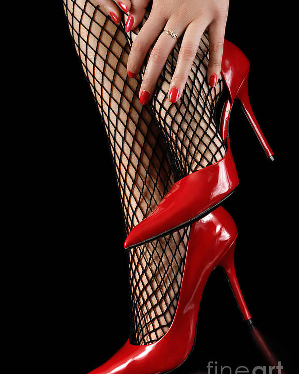 Shoes Poster featuring the photograph Woman Wearing Red Sexy High Heels by Oleksiy Maksymenko