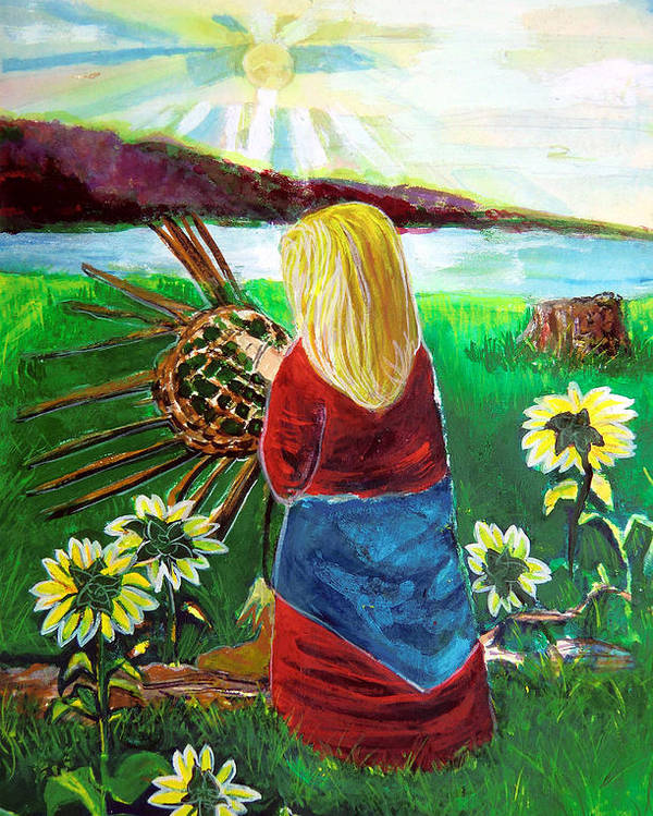 Woman Poster featuring the painting Woman Weaves A Basket By The Lake At Sunset by Mindy Newman