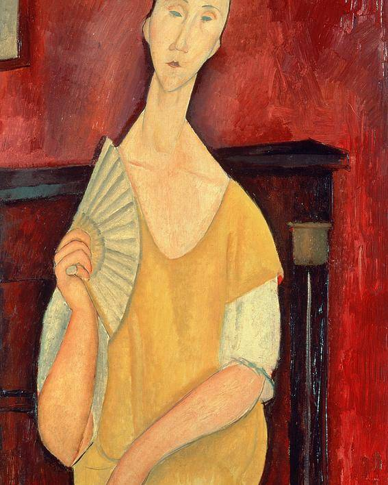 Woman Poster featuring the painting Woman With A Fan by Amedeo Modigliani