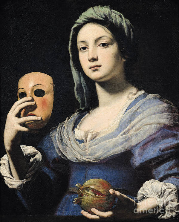 Woman Poster featuring the painting Woman With A Mask by Lorenzo Lippi