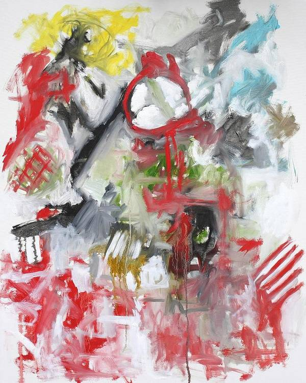 Abstract Poster featuring the painting Woman With A Red Comb by Michael Henderson
