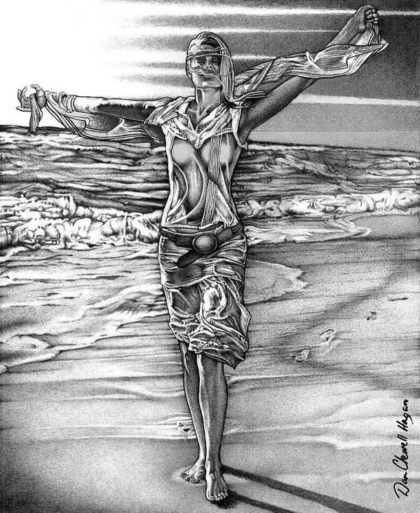 Female Poster featuring the drawing Woman With Arms Up by Dan Clewell