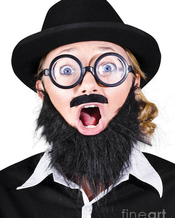 Humor Poster featuring the photograph Woman With Fake Beard And Mustache Screaming by Jorgo Photography - Wall Art Gallery