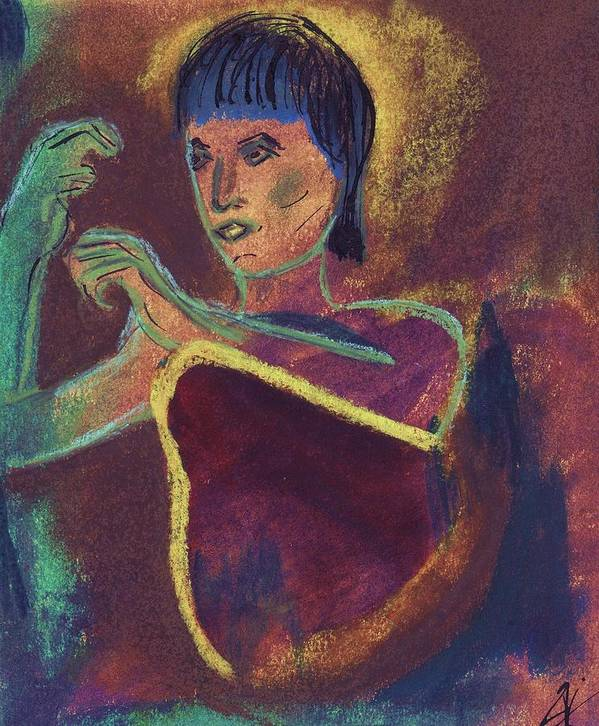 Figurative Poster featuring the mixed media Woman With Green Arm by JuneFelicia Bennett