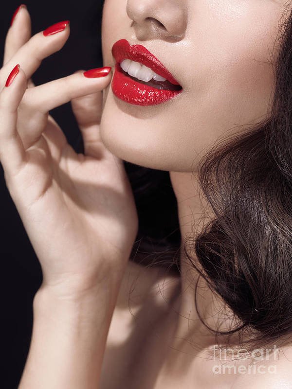 Lips Poster featuring the photograph Woman With Red Lipstick Closeup Of Sensual Mouth by Oleksiy Maksymenko