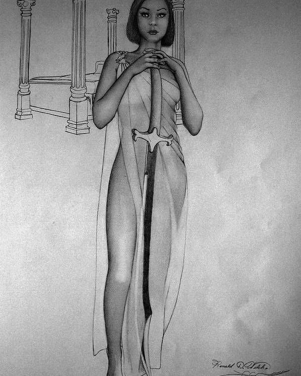 Woman Poster featuring the drawing Woman With Sword by Ronald Welch