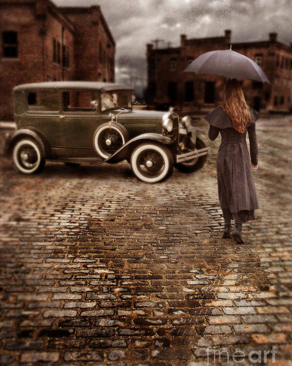 Woman Poster featuring the photograph Woman With Umbrella By Vintage Car by Jill Battaglia