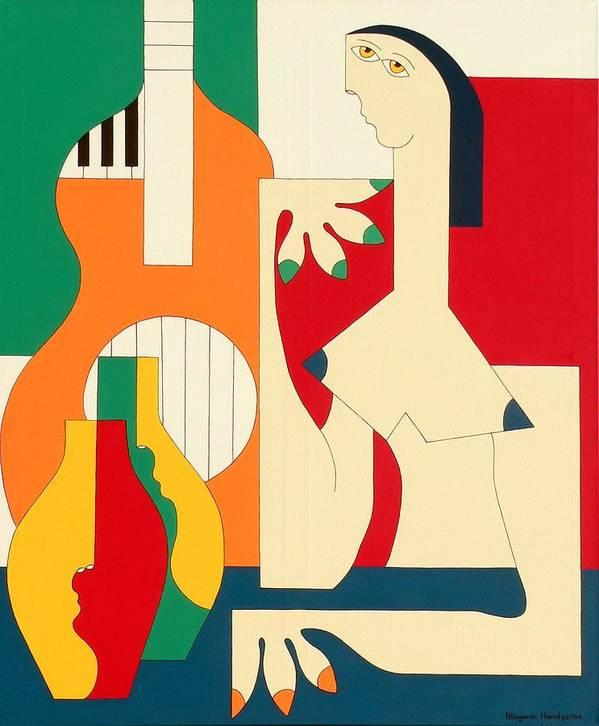 Women Music Modern Green Orange Bleu Gitar Poster featuring the painting Women And Music by Hildegarde Handsaeme