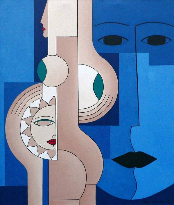 Women Bips Bleu Modern Poster featuring the painting Women And Questions by Hildegarde Handsaeme