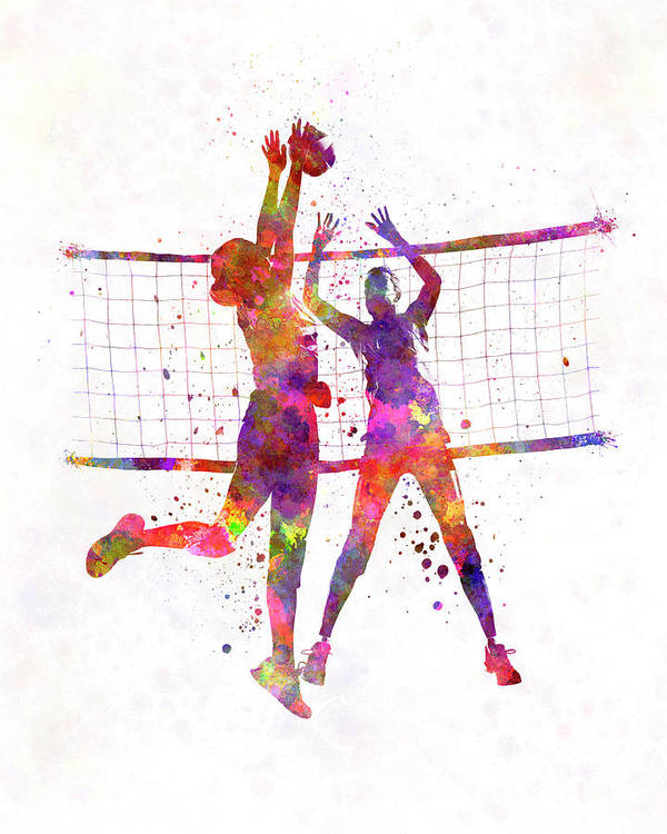 Women Volleyball Players In Watercolor Poster By Pablo Romero