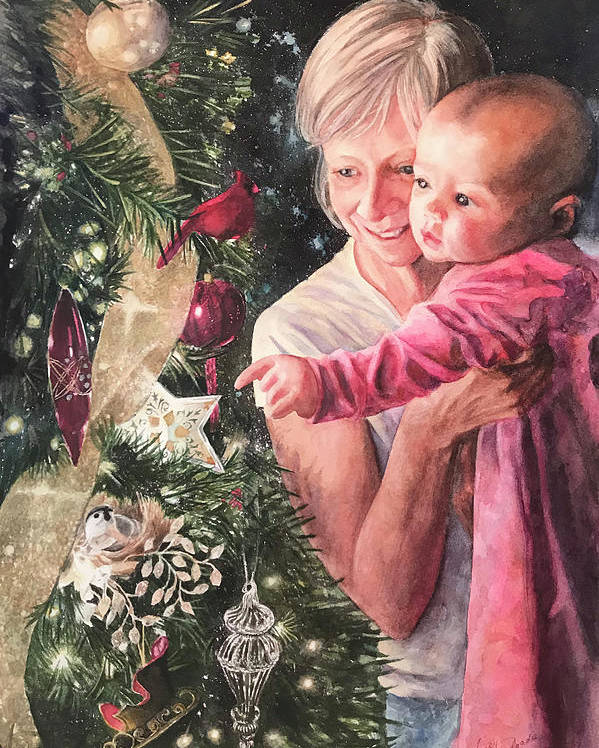 Christmas Poster featuring the painting Wonder by Nancy Delgado